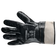 Knitted glove with blue nitrile full coating